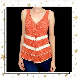 Anthropologie Everly Orange  Sleeveless top (C5)